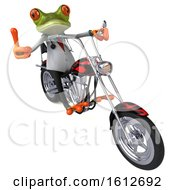 Clipart Of A 3d Green Doctor Frog Biker Riding A Chopper Motorcycle On A White Background Royalty Free Illustration