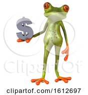 3d Green Frog Holding A Dollar Sign On A White Background