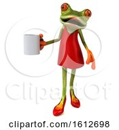 Poster, Art Print Of 3d Green Female Frog Holding A Coffee On A White Background