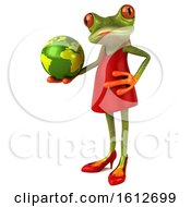 3d Green Female Frog Holding A Globe On A White Background