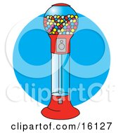 Red Gumball Vending Machine Full Of Colorful Balls Of Chewing Gum Candies