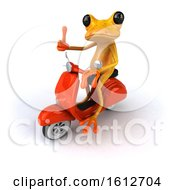 Clipart Of A 3d Yellow Frog Riding A Scooter On A White Background Royalty Free Illustration