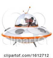 Clipart Of A 3d Red Frog Flying A Ufo On A White Background Royalty Free Illustration