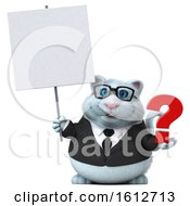Clipart Of A 3d White Business Kitty Cat Holding A Question Mark On A White Background Royalty Free Illustration