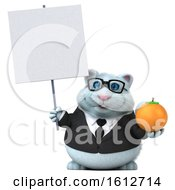 Clipart Of A 3d White Business Kitty Cat Holding An Orange On A White Background Royalty Free Illustration