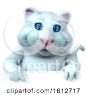 Clipart Of A 3d White Kitty Cat Over A Sign On A White Background Royalty Free Illustration