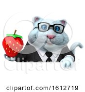 Clipart Of A 3d White Business Kitty Cat Holding A Strawberry On A White Background Royalty Free Illustration