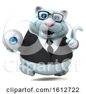 Clipart Of A 3d White Business Kitty Cat Holding An Eyeball On A White Background Royalty Free Illustration