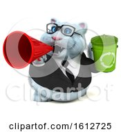 Clipart Of A 3d White Business Kitty Cat Holding A Recycle Bin On A White Background Royalty Free Illustration