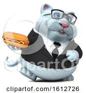 Clipart Of A 3d White Business Kitty Cat Holding A Hot Dog On A White Background Royalty Free Illustration