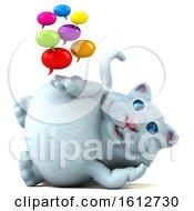 3d White Kitty Cat Holding Messages On A White Background