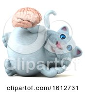 Clipart Of A 3d White Kitty Cat Holding A Brain On A White Background Royalty Free Illustration