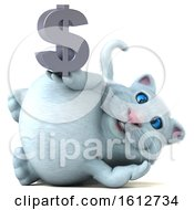 Clipart Of A 3d White Kitty Cat Holding A Dollar Sign On A White Background Royalty Free Illustration