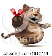 Clipart Of A 3d Tabby Kitty Cat Holding A Chocolate Egg On A White Background Royalty Free Illustration