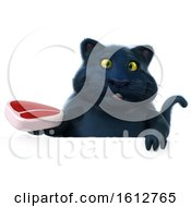 Clipart Of A 3d Black Kitty Cat Holding A Steak On A White Background Royalty Free Illustration