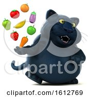 Clipart Of A 3d Black Kitty Cat Holding Produce On A White Background Royalty Free Illustration