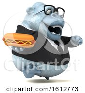 Poster, Art Print Of 3d White Business Monkey Yeti Holding A Hot Dog On A White Background