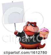 Clipart Of A 3d Red Business T Rex Dinosaur Holding A Cupcake On A White Background Royalty Free Illustration