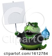 Clipart Of A 3d Green Business T Rex Dinosaur Holding A Water Drop On A White Background Royalty Free Illustration
