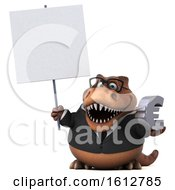 Clipart Of A 3d Brown Business T Rex Dinosaur Holding A Euro On A White Background Royalty Free Illustration