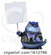 Clipart Of A 3d Blue Business T Rex Dinosaur Holding A Blank Sign On A White Background Royalty Free Illustration