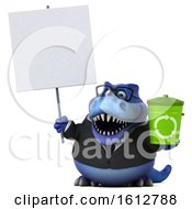 Clipart Of A 3d Blue Business T Rex Dinosaur Holding A Recycle Bin On A White Background Royalty Free Illustration