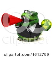 Clipart Of A 3d Green Business T Rex Dinosaur Holding A Globe On A White Background Royalty Free Illustration