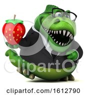 Clipart Of A 3d Green Business T Rex Dinosaur Holding A Strawberry On A White Background Royalty Free Illustration