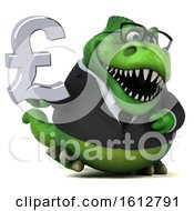 Clipart Of A 3d Green Business T Rex Dinosaur Holding A Pound Currency Symbol On A White Background Royalty Free Illustration