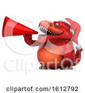Clipart Of A 3d Red Christmas T Rex Dinosaur Using A Megaphone On A White Background Royalty Free Illustration