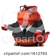 Clipart Of A 3d Red Business T Rex Dinosaur Presenting On A White Background Royalty Free Illustration