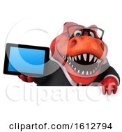Clipart Of A 3d Red Business T Rex Dinosaur Holding A Tablet On A White Background Royalty Free Illustration