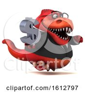 Clipart Of A 3d Red Business T Rex Dinosaur Holding A Dollar Sign On A White Background Royalty Free Illustration