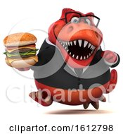 Clipart Of A 3d Red Business T Rex Dinosaur Holding A Burger On A White Background Royalty Free Illustration