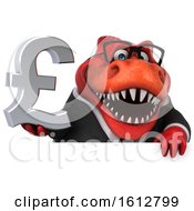 Clipart Of A 3d Red Business T Rex Dinosaur Holding A Pound Currency Symbol On A White Background Royalty Free Illustration