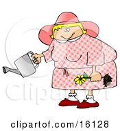 Chubby Blond Woman In Pink Holding A Yellow Daisy And A Watering Can