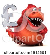 Clipart Of A 3d Red T Rex Dinosaur Holding A Pound Currency Symbol On A White Background Royalty Free Illustration