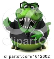 Clipart Of A 3d Green Business T Rex Dinosaur Holding Up A Middle Finger On A White Background Royalty Free Illustration