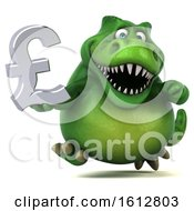 Clipart Of A 3d Green T Rex Dinosaur Holding A Pound Currency Symbol On A White Background Royalty Free Illustration