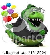 3d Green Business T Rex Dinosaur Holding Messages On A White Background