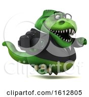 Clipart Of A 3d Green Business T Rex Dinosaur Holding A Camera On A White Background Royalty Free Illustration