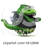 Clipart Of A 3d Green Business T Rex Dinosaur Holding A Euro On A White Background Royalty Free Illustration
