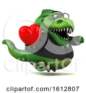 Clipart Of A 3d Green Business T Rex Dinosaur Holding A Heart On A White Background Royalty Free Illustration