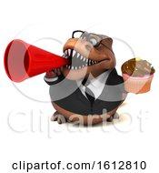 Clipart Of A 3d Brown Business T Rex Dinosaur Holding A Cupcake On A White Background Royalty Free Illustration