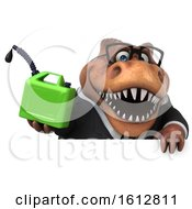 Clipart Of A 3d Brown Business T Rex Dinosaur Holding A Gas Can On A White Background Royalty Free Illustration