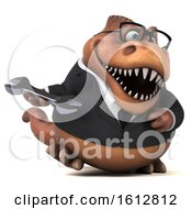 Clipart Of A 3d Brown Business T Rex Dinosaur Holding A Wrench On A White Background Royalty Free Illustration
