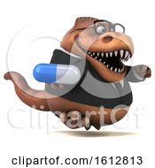 Clipart Of A 3d Brown Business T Rex Dinosaur Holding A Pill On A White Background Royalty Free Illustration