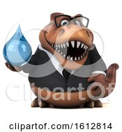 Clipart Of A 3d Brown Business T Rex Dinosaur Holding A Water Drop On A White Background Royalty Free Illustration