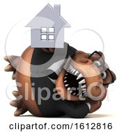 Clipart Of A 3d Brown Business T Rex Dinosaur Holding A House On A White Background Royalty Free Illustration