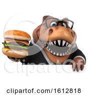 Clipart Of A 3d Brown Business T Rex Dinosaur Holding A Burger On A White Background Royalty Free Illustration